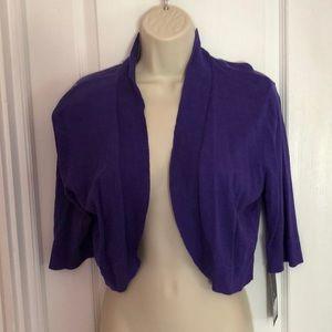 NWT Purple/Blue 3/4 Sleeve Shrug